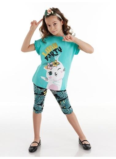 Denokids Cat Party Kız Tunik Takım Renkli